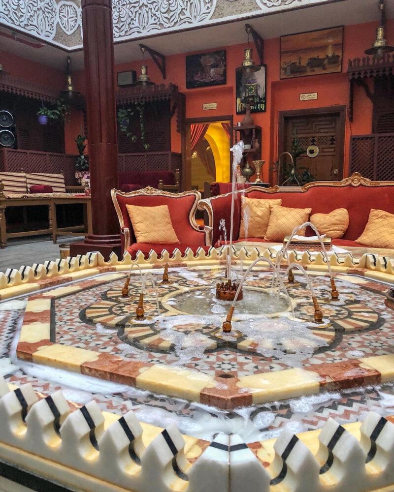 fountain in a traditional arab - hijazi restaurant
